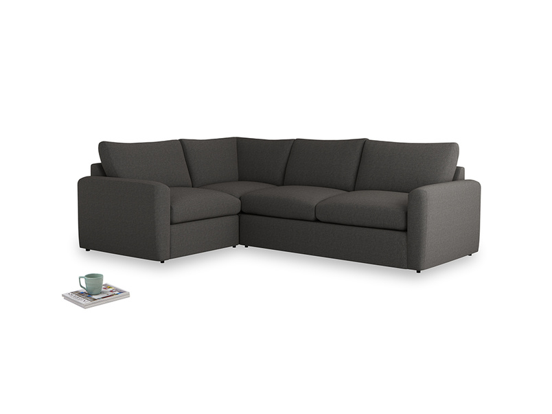 Large left hand Chatnap modular corner storage sofa in Old Charcoal brushed cotton with both arms