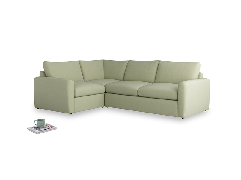 Large left hand Chatnap modular corner storage sofa in Old sage washed cotton linen with both arms