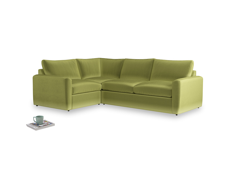 Large left hand Chatnap modular corner storage sofa in Olive plush velvet with both arms