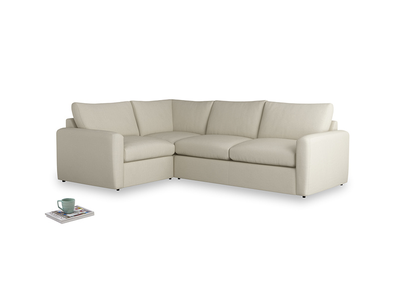 Large left hand Chatnap modular corner storage sofa in Pale rope clever linen with both arms