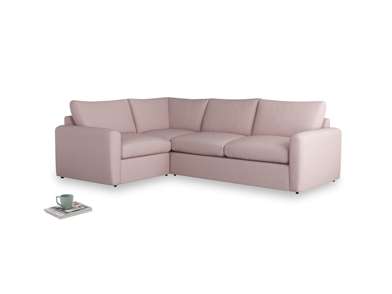 Large left hand Chatnap modular corner storage sofa in Potter's pink Clever Linen with both arms