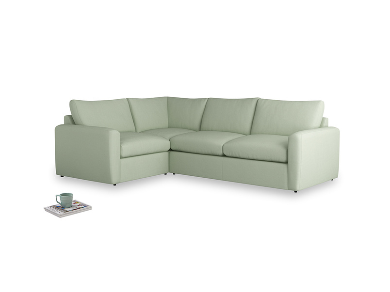 Large left hand Chatnap modular corner storage sofa in Powder green Clever Linen with both arms