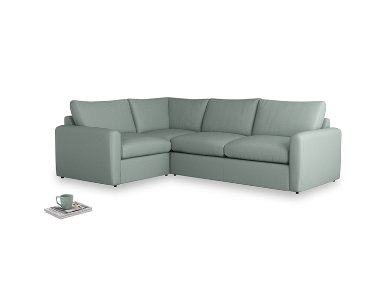 Large left hand Chatnap modular corner storage sofa in Sea fog Clever Woolly Fabric with both arms