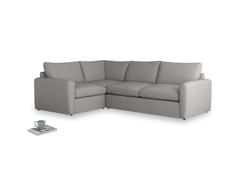 Large left hand Chatnap modular corner storage sofa in Safe grey clever linen with both arms