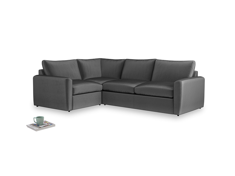 Large left hand Chatnap modular corner storage sofa in Scuttle grey vintage velvet with both arms