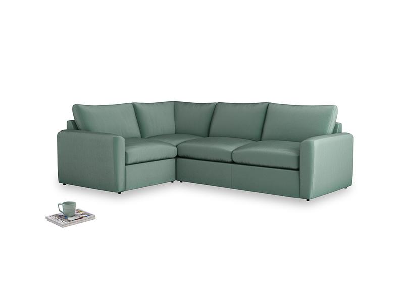 Large left hand Chatnap modular corner storage sofa in Sea blue vintage velvet with both arms