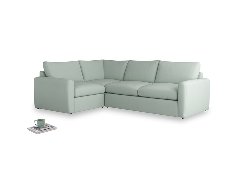 Large left hand Chatnap modular corner storage sofa in Sea surf clever cotton with both arms