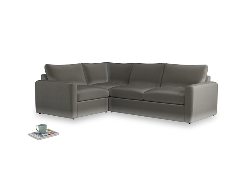 Large left hand Chatnap modular corner storage sofa in Slate clever velvet with both arms