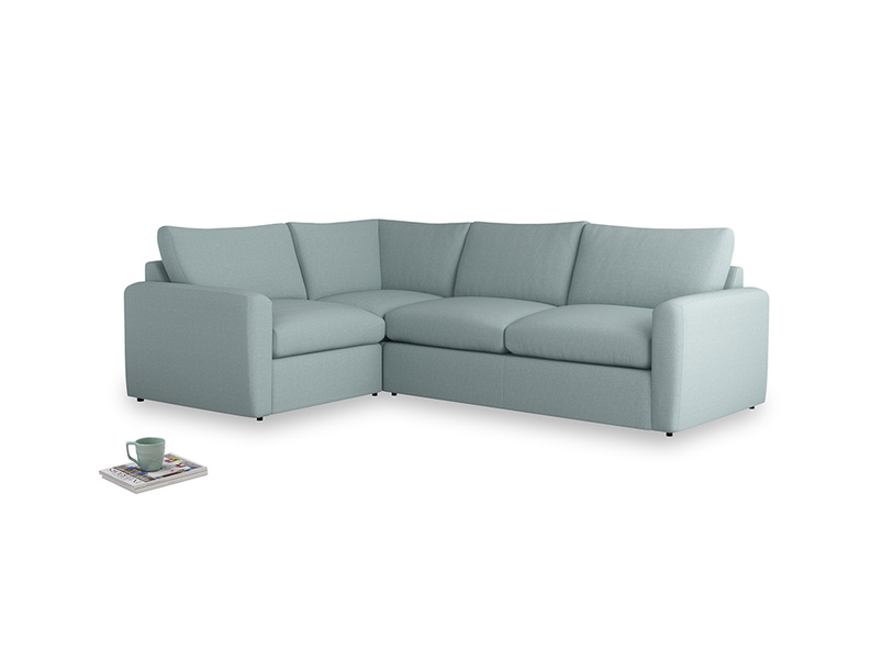 Large left hand Chatnap modular corner storage sofa in Smoke blue brushed cotton with both arms