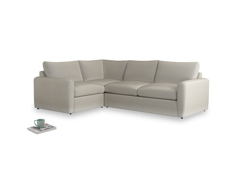 Large left hand Chatnap modular corner storage sofa in Smoky Grey clever velvet with both arms