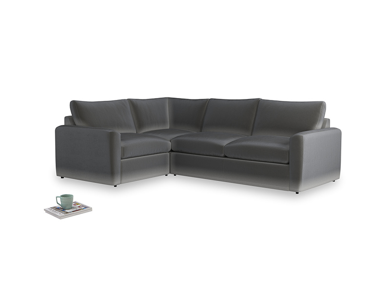 Large left hand Chatnap modular corner storage sofa in Steel clever velvet with both arms
