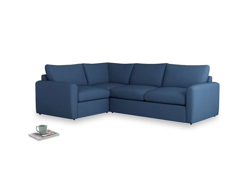 Large left hand Chatnap modular corner storage sofa in True blue Clever Linen with both arms