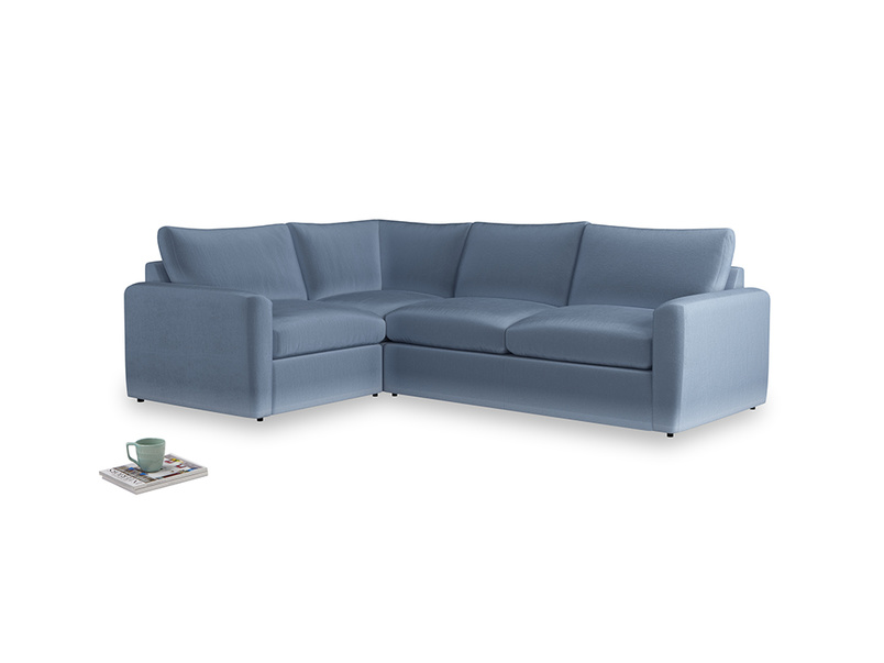 Large left hand Chatnap modular corner storage sofa in Winter Sky clever velvet with both arms