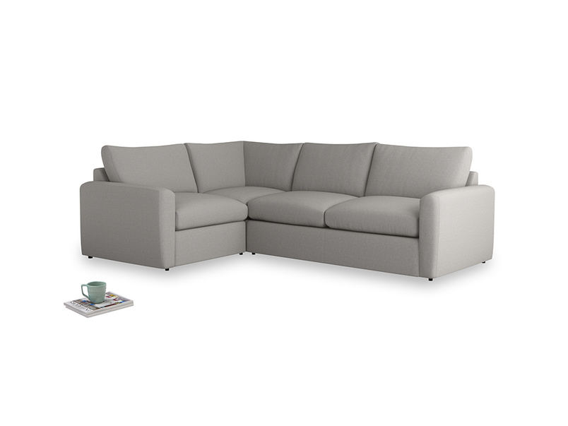 Large left hand Chatnap modular corner storage sofa in Wolf brushed cotton with both arms