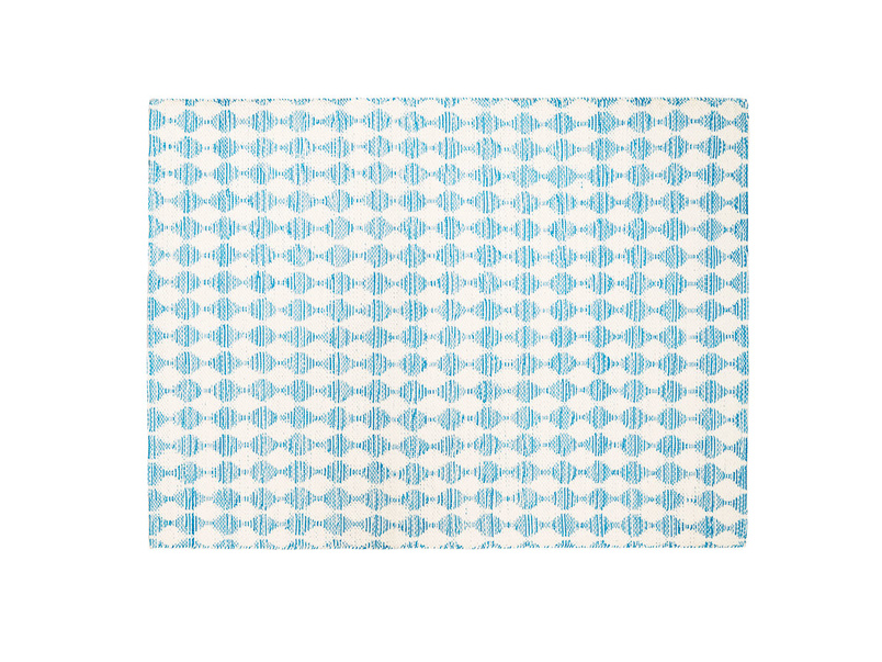 Waves woven patterned floor rug in blue