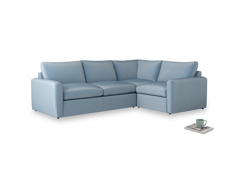 Large right hand Chatnap modular corner sofa bed in Chalky blue vintage velvet with both arms