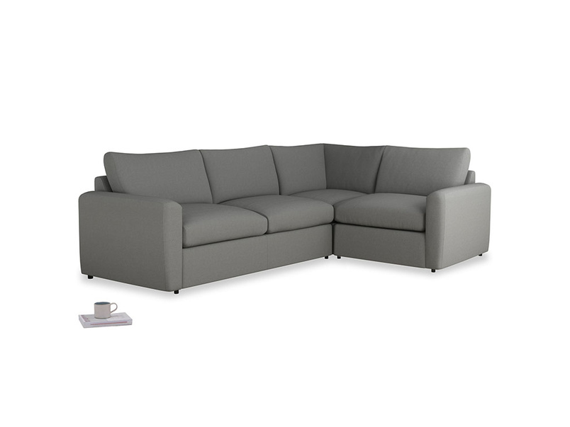 Large right hand Chatnap modular corner sofa bed in French Grey brushed cotton with both arms