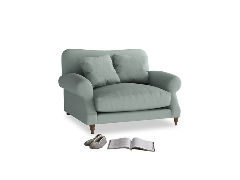 Crumpet Love seat in Sea fog Clever Woolly Fabric