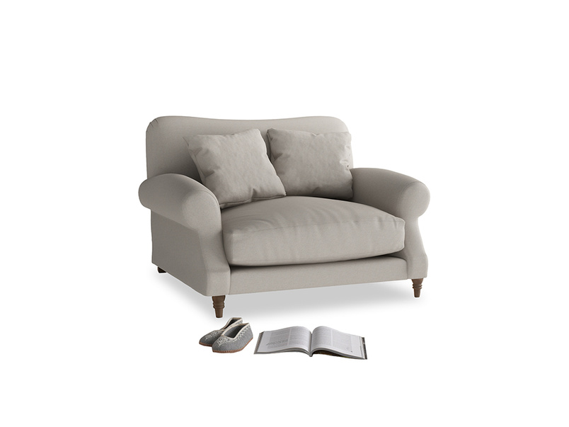 Crumpet Love seat in Sailcloth grey Clever Woolly Fabric