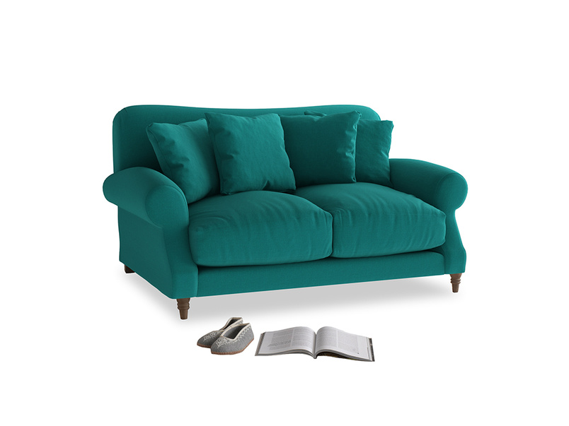 Small Crumpet Sofa in Indian green Brushed Cotton