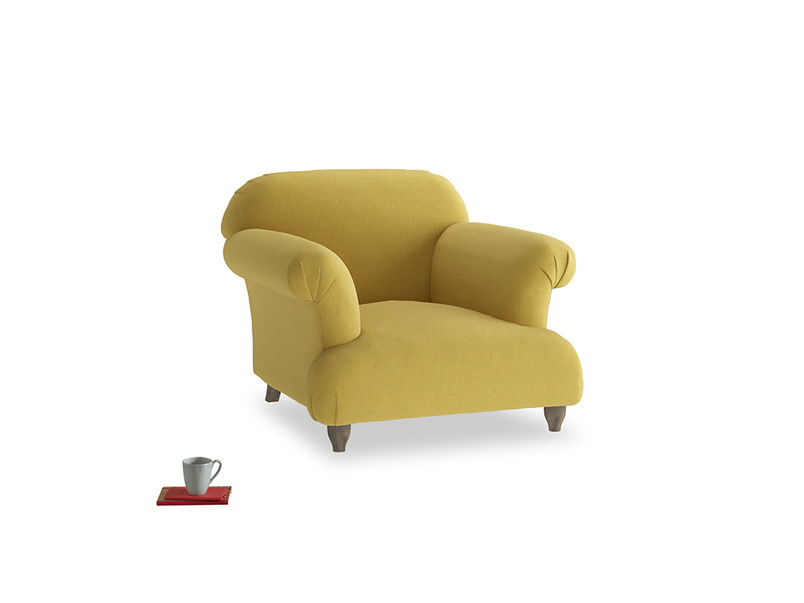 Soufflé Armchair in Maize yellow Brushed Cotton