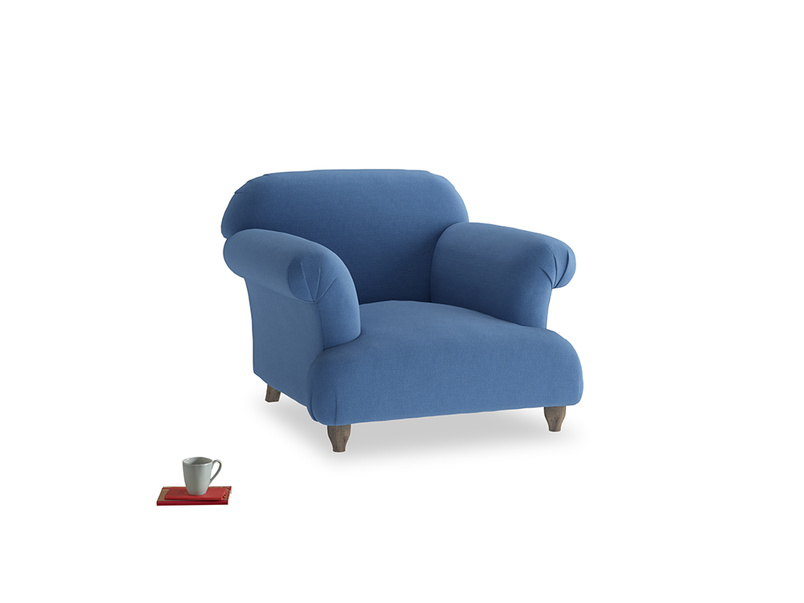 Soufflé Armchair in English blue Brushed Cotton