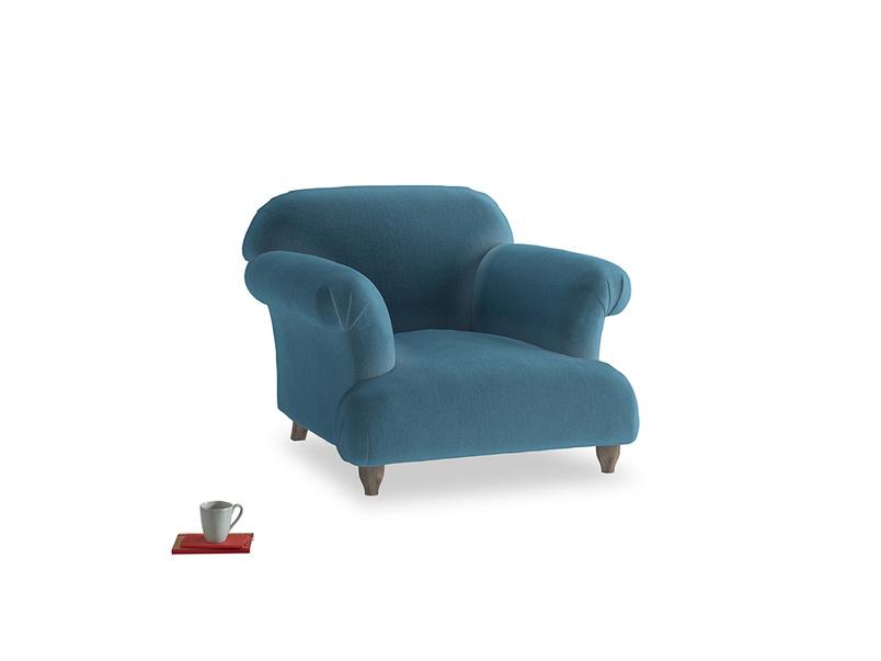 Soufflé Armchair in Old blue Clever Deep Velvet
