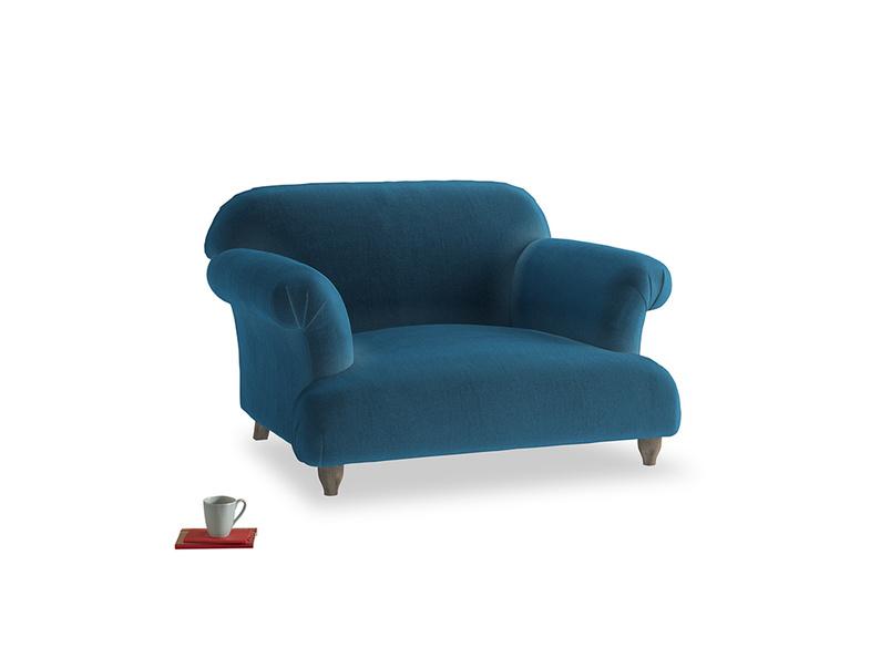 Soufflé Love seat in Twilight blue Clever Deep Velvet