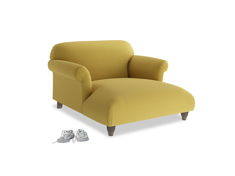 Soufflé Love Seat Chaise in Maize yellow Brushed Cotton