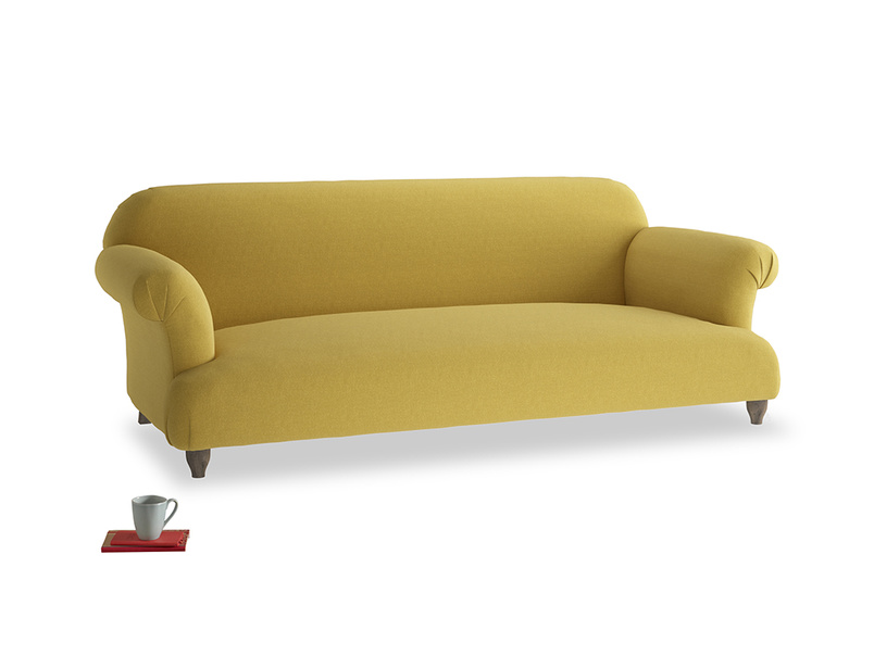 Large Soufflé Sofa in Maize yellow Brushed Cotton