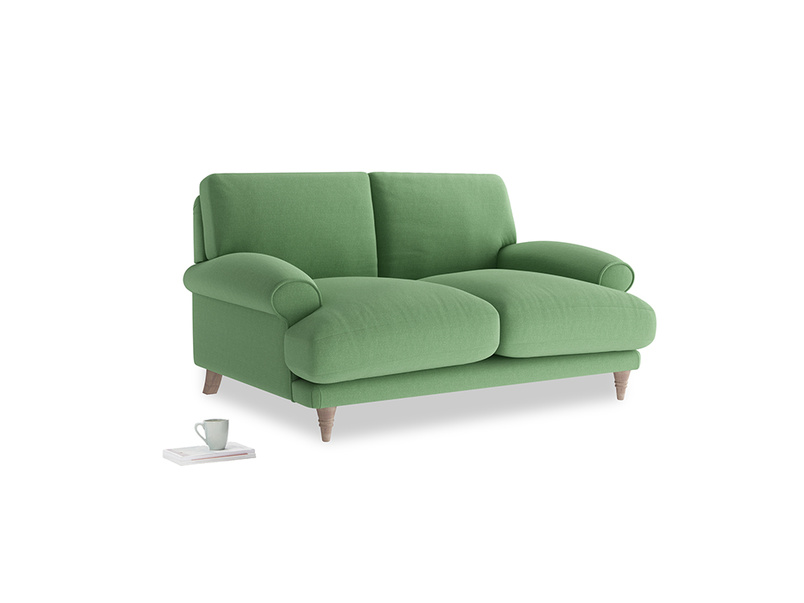 Small Slowcoach Sofa in Clean green Brushed Cotton