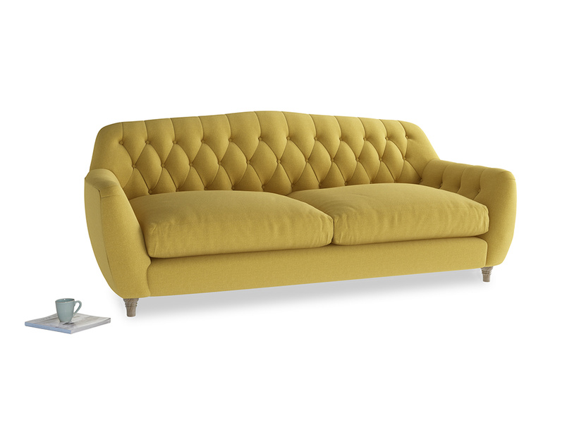 Large Butterbump Sofa in Maize yellow Brushed Cotton