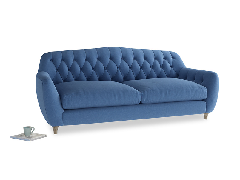 Large Butterbump Sofa in English blue Brushed Cotton