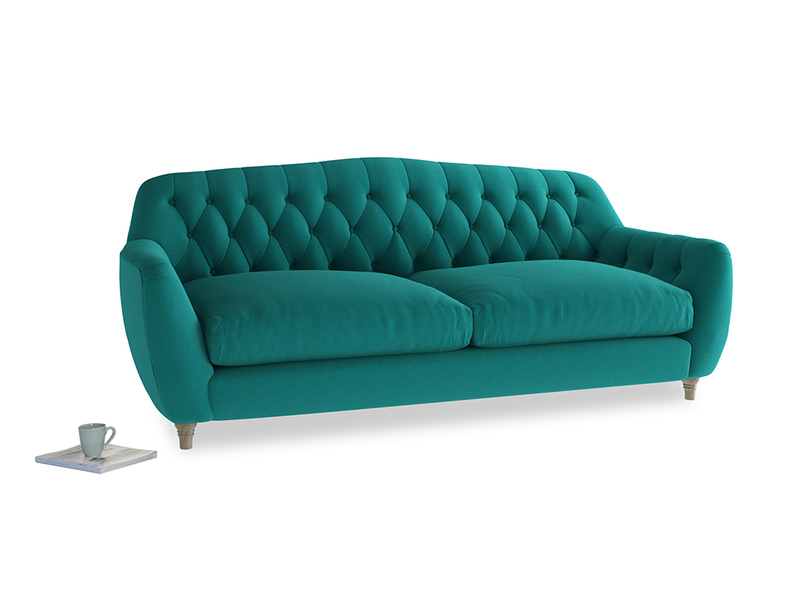Large Butterbump Sofa in Indian green Brushed Cotton