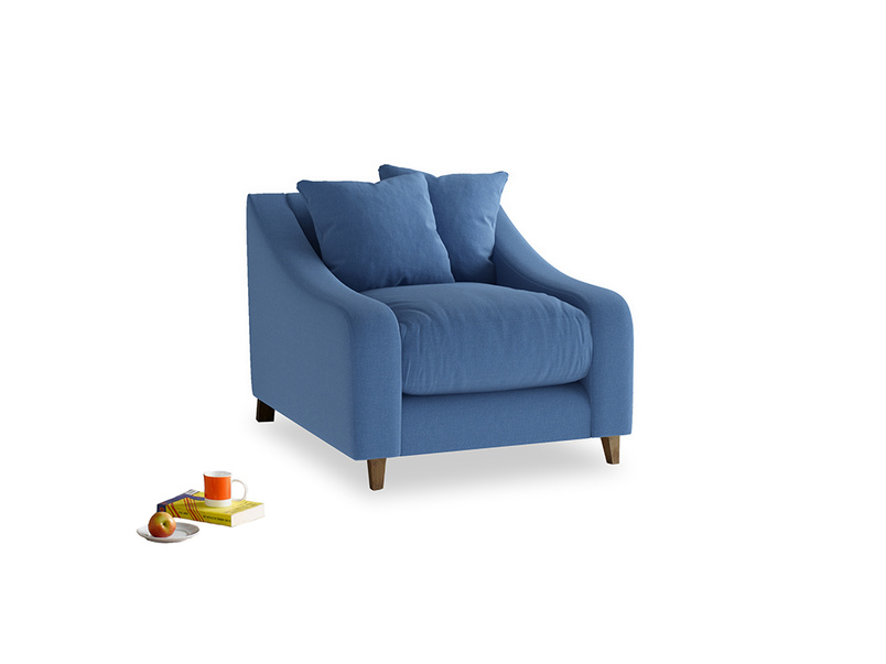 Oscar Armchair in English blue Brushed Cotton