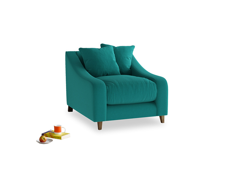 Oscar Armchair in Indian green Brushed Cotton