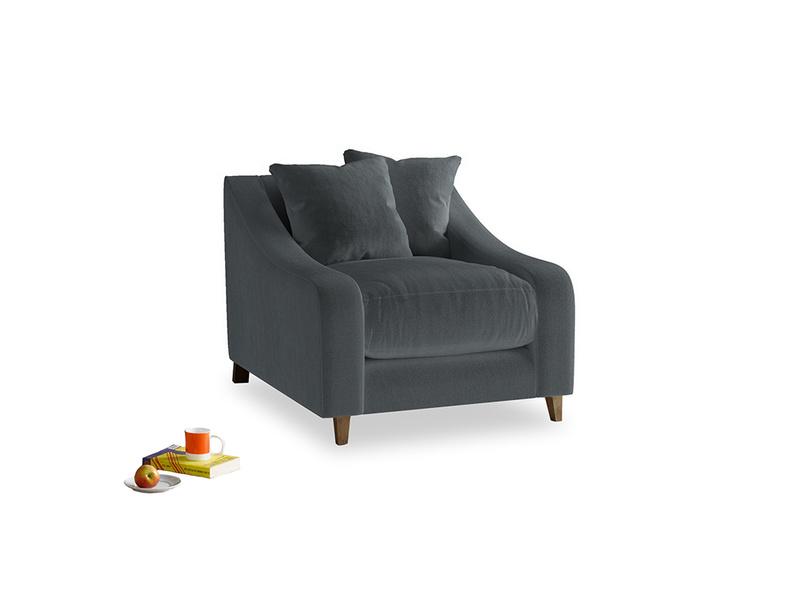 Oscar Armchair in Dark grey Clever Deep Velvet