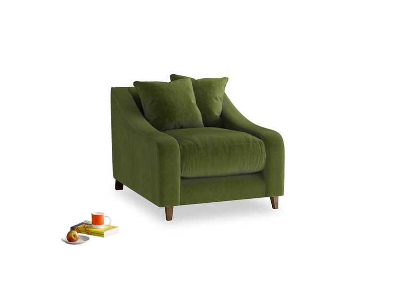Oscar Armchair in Good green Clever Deep Velvet