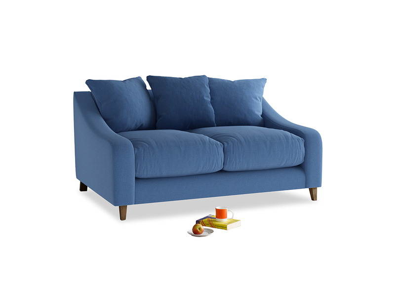 Small Oscar Sofa in English blue Brushed Cotton