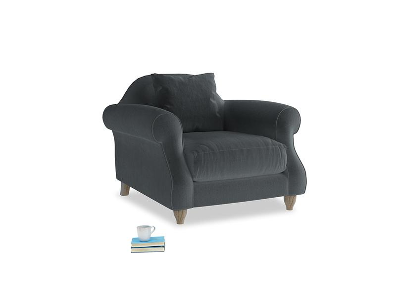 Sloucher Armchair in Dark grey Clever Deep Velvet