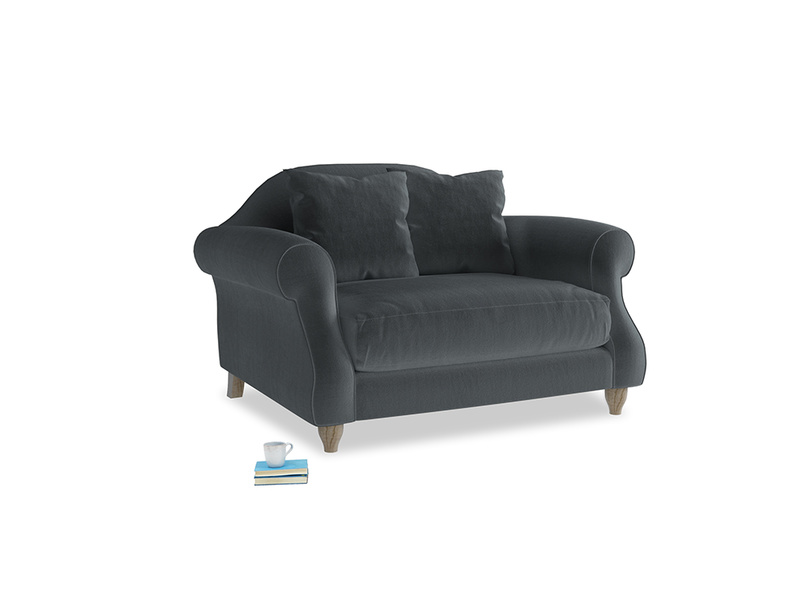 Sloucher Love seat in Dark grey Clever Deep Velvet