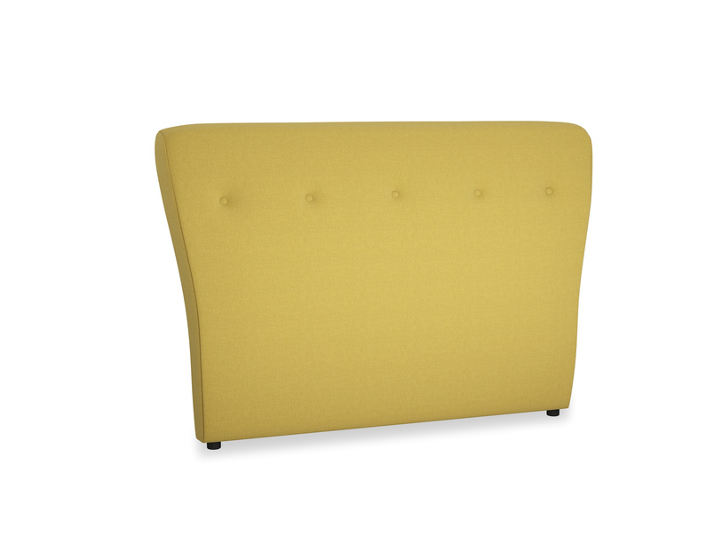 Double Smoke Headboard in Maize yellow Brushed Cotton
