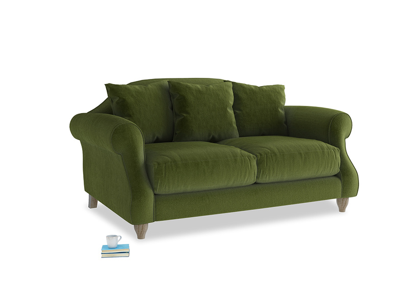 Small Sloucher Sofa in Good green Clever Deep Velvet
