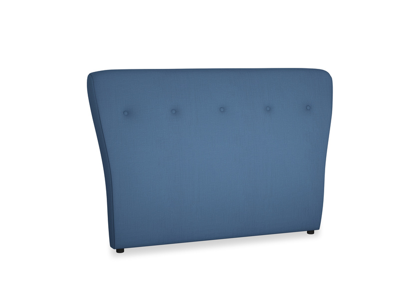 Double Smoke Headboard in True blue Clever Linen