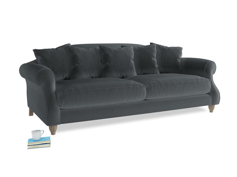 Large Sloucher Sofa in Dark grey Clever Deep Velvet