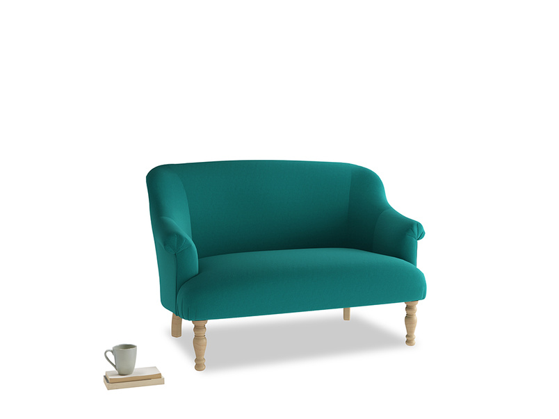 Small Sweetie Sofa in Indian green Brushed Cotton