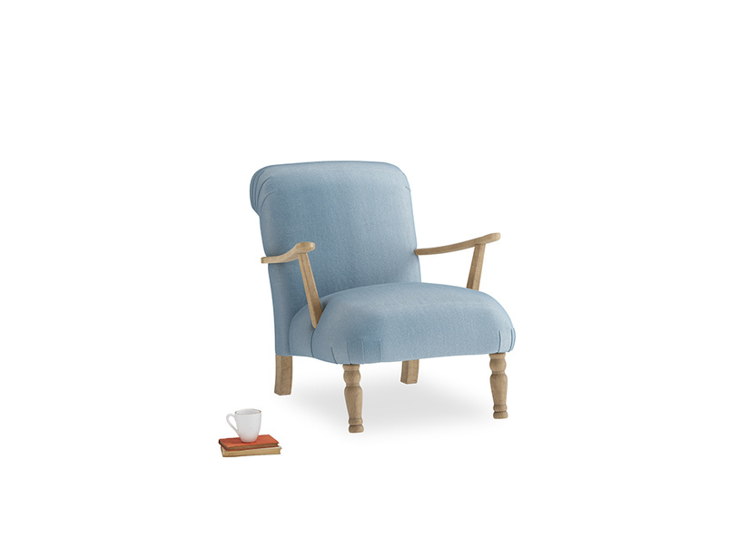 Brew Armchair in Chalky blue vintage velvet