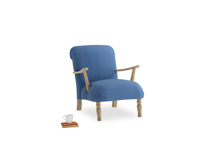 Brew Armchair in English blue Brushed Cotton