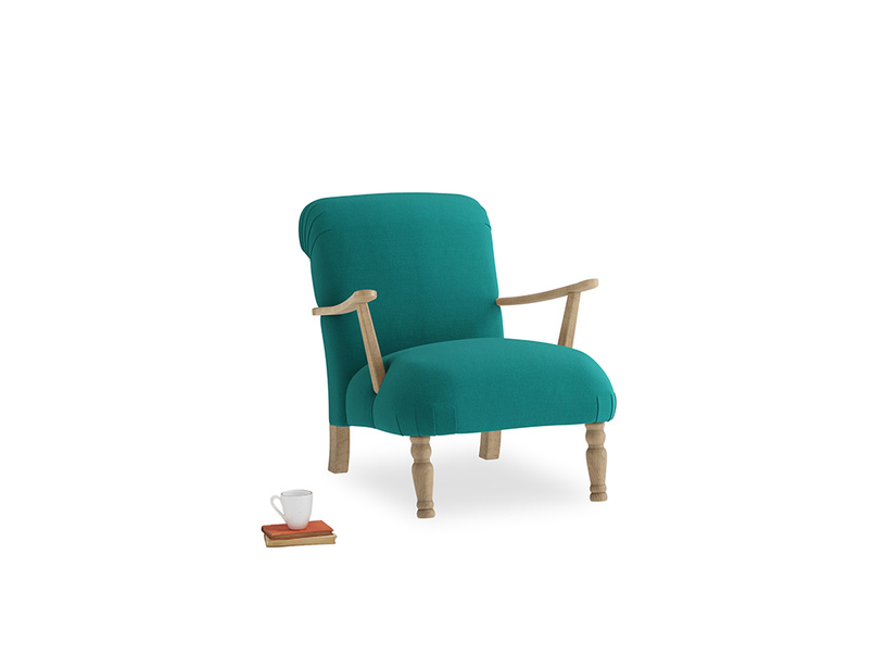 Brew Armchair in Indian green Brushed Cotton