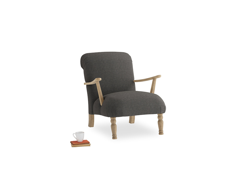 Brew Armchair in Old Charcoal brushed cotton